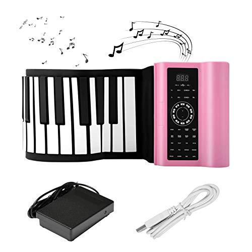 SEAAN - Piano digital Bluetooth enrollable de 88 teclas, piano portátil con 140 tonos, 80 demostraciones de música, 128 ritmos, Bluetooth USB recargable MIDI altavoces integrados (rosa)