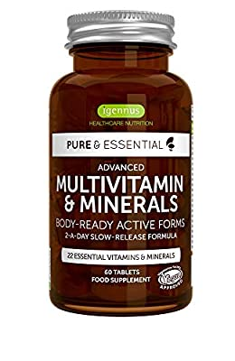 Pure & Essential Advanced Multivitamin and Minerals with Iron, Folate, Vitamin D3 and K2, Vegan, 60 Tablets