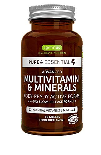 6 Pack Pure & Essential Methylated Multivitamin & Minerals with Iron, Methylfolate, Zinc, Vitamin D3 & K2, Timed Release, Vegan, 6x60 Tablets