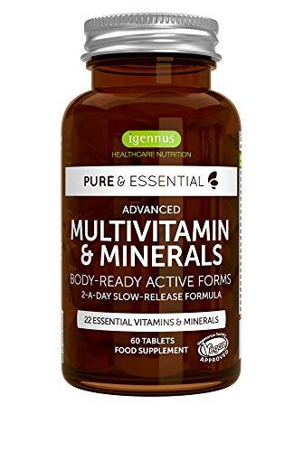 Pure & Essential Multivitamin & Minerals - Multivitamines et Minéraux avancés avec folate, vitamine D3 et vitamine K2, vegan, 60 comprimés