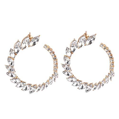 JIFNCR Pendientes de cristal para mujer, diseño de ojo de caballo, con circonitas, para boda, accesorios de joyería