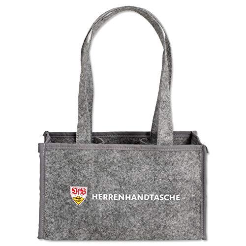 VfB Stuttgart Herren Handtasche grau für Six Pack mit dezentem Wappen Filztasche Fanartikel Männerhaushalt Männer WG