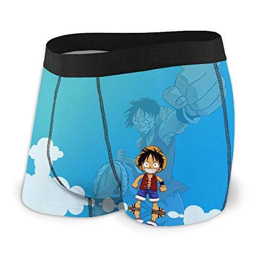 Beutel Boxer Briefs Short Trunks Anime One Piece Herrenunterwäsche Stretch Boxershorts für Männer Short Leg Unterhosen Atmungsaktive, Bequeme Faserpackung