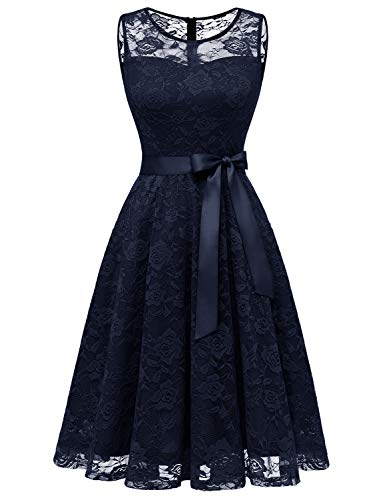 Dressystar 0009 Floral Lace Dress Short Bridesmaid Dresses with Sheer Neckline Navy S