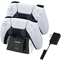 NexiGo Upgraded Dual Charing Station for Playstation 5 DualSense Controllers with LED Indicators and Safety Chip Protection (White)