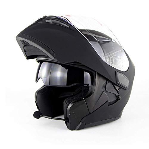 VISTANIA Moto Bluetooth Casque D. O. T Certification-Full Face Bluetooth Racing ATV Moto Casque Cromwell Casque Jet Double Miroir modulaire Flip Casque,Black,L