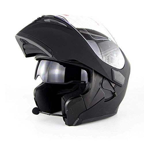 VISTANIA Motorrad-BluetoothHelm D.O.T Zertifizierung-Full Face Bluetooth Racing ATV Motorcycle Helm Cromwell Helm Jet Double Mirror Module Flip Helm,Black,M