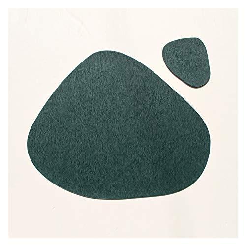 HFQJTU Placemats para Mesa de Comedor, Alfombrillas de Mesa y Posavasos, manteles de Cuero Antideslizante Resistente al Calor Lugares Lavables para Cocina y Comedor Regalo (Color : Green)