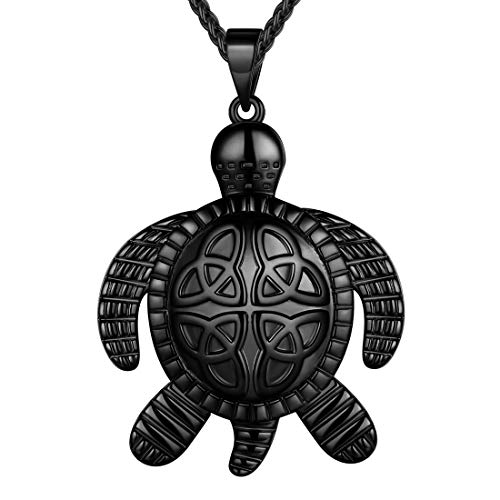 beautlace Turtle Necklaces Celtic Knot Pendant Black Gun Plated Animals Pendant Necklace Jewelry Gifts for Men and Women KP0063K
