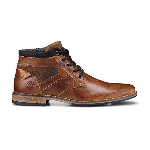 Cox Herren Schnür-Boots aus Leder, Stiefeletten in Braun mit robuster Lauf-Sohle Braun Glattleder 44