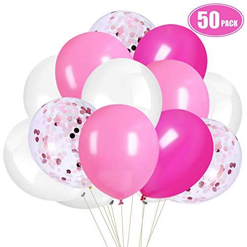 Rosa Konfetti Weiß Luftballons, 30cm Rosenrot Latex Luftballons zum Geburtstag, Babyparty, Hochzeit, Jubiläum Brautdusche Party Dekorationen (50 Stück)