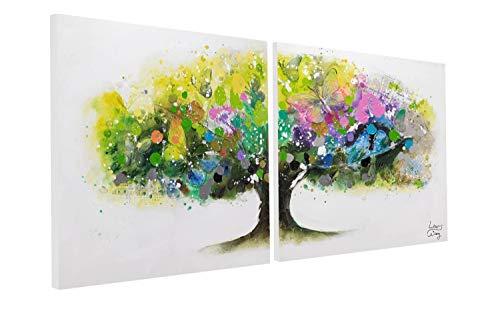KunstLoft® Acryl Gemälde 'Regenbogenbaum' 160x80cm | original handgemalte Leinwand Bilder XXL | Zweiteilig Baum des Lebens Bunt Schmetterlinge | Wandbild Acrylbild Moderne Kunst mehrteilig mit Rahmen
