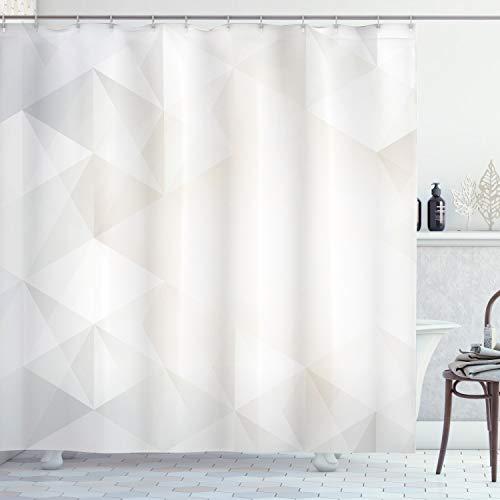 ABAKUHAUS Grau & Weiß Duschvorhang, Polygon-Artwork, mit 12 Ringe Set Wasserdicht Stielvoll Modern Farbfest & Schimmel Resistent, 175x220 cm, Hellgrau Weiß