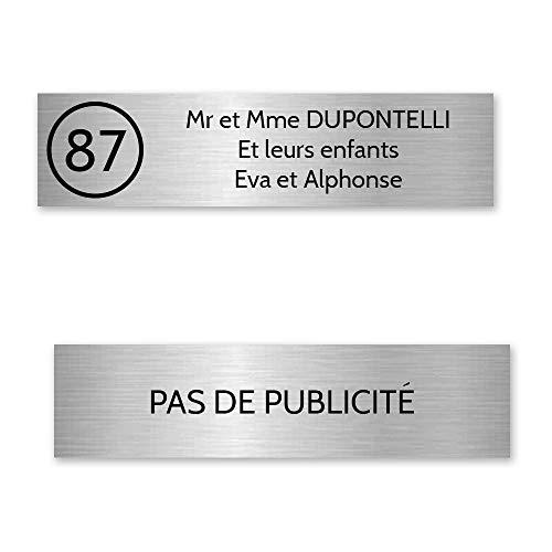 Plaque nom avec numéro + Plaque Stop Pub pour boite aux lettres format Decayeux (100x25mm) gris argent lettres noires - 3 lignes - Plastique - 1,6