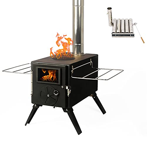 OKL Tent Camping Stove, Outdoor portable storage wood Stove, Heating Burner Stove with Pipe for Cooking, Camping, Travel, Hiking