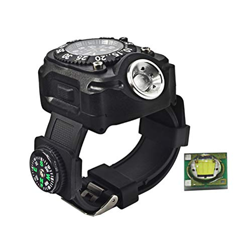 AKTNMU Wrist Light Watch 5 Modes 240 Lumens with Compass Rechargeable Waterproof LED Flashlight for Outdoor Running Hiking Camping