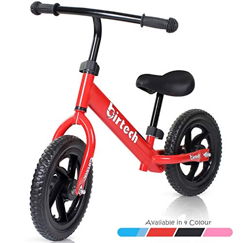 Balance Bike for Kids and Toddlers,red Children Walking Bike,12''lightweghit Adjustable Kids Training Bike with Carbon Steel Frame