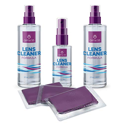 Lens Cleaner Spray Kit - Alcohol & Ammonia Free | (2) 8oz + (1) 2oz Eye Glasses Cleaner Spray + (3) Microfiber Cloths | Safe for Eyeglasses, Lenses & Screens | Streak-Free, Unscented