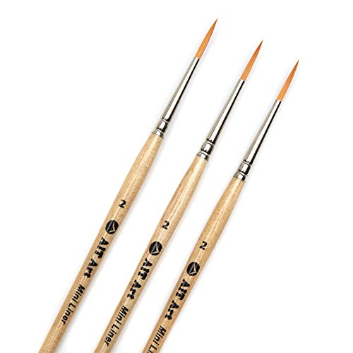 AIT Art Mini Liner Detail Paint Brushes, Size 2, Pack of 3, Handmade in USA for Trusted Performance Painting Small Details with Oil, Acrylic, and Watercolors