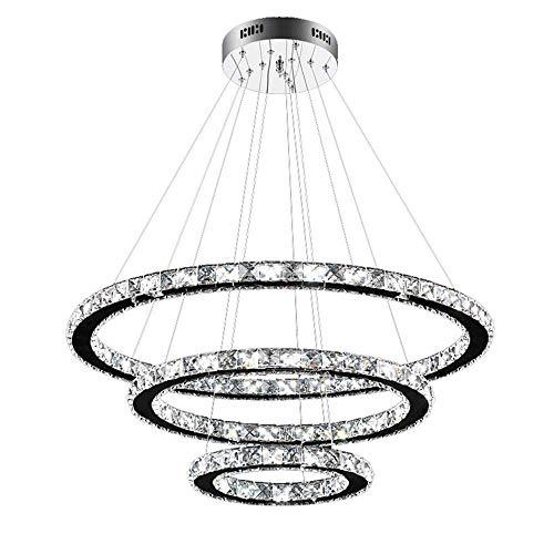 JJZXD Kristall Moderne esszimmer Decke pendelleuchten 3 Ringe einstellbar Edelstahl kronleuchter,