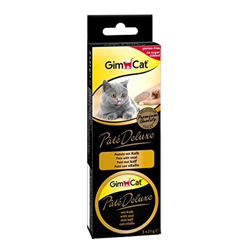 GimCat Pâté Deluxe Kalb - Glutenfreier Katzensnack mit Fleisch und ohne Zuckerzusatz - 8 Packungen (24 Portionen)