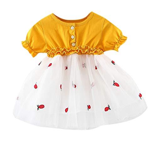 Yanhoo-Kinder Babybekleidung Baby-Mädchen Prinzessin Kleid Festzug Taufkleid Hochzeit Partykleid Mädchen Tüll Kleidung Blumenmädchenkleid mit Baumwollhose