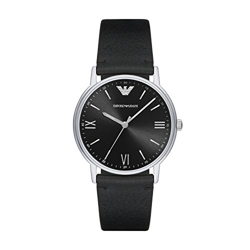 Emporio Armani Herren Analog Quarz Uhr mit Leder Armband AR11013