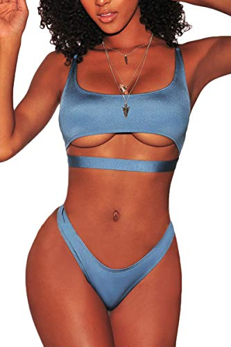 FAFOFA Women Bikini Sets Spaghetti Straps Crop Top Brazilian Thong Cheeky Bottom...