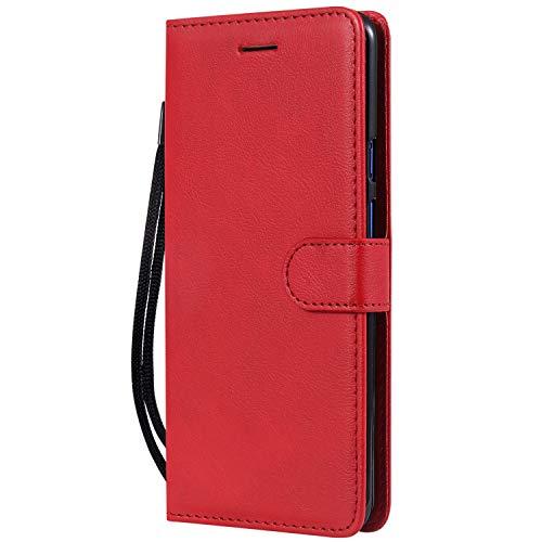 Hülle für OnePlus 7Pro Hülle Handyhülle [Standfunktion] [Kartenfach] Tasche Flip Hülle Cover Etui Schutzhülle lederhülle flip case für OnePlus 7 Pro - DEKT051524 Rot