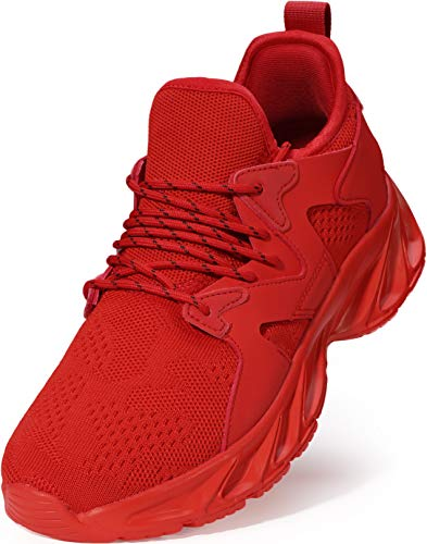 BRONAX Sneakers for Men Sports Slip on Work Out Fashion Lightweight Red Size 11 Stylish Tennis Fitness Running Gym Outdoor Indoor Fashion Sneakers 46