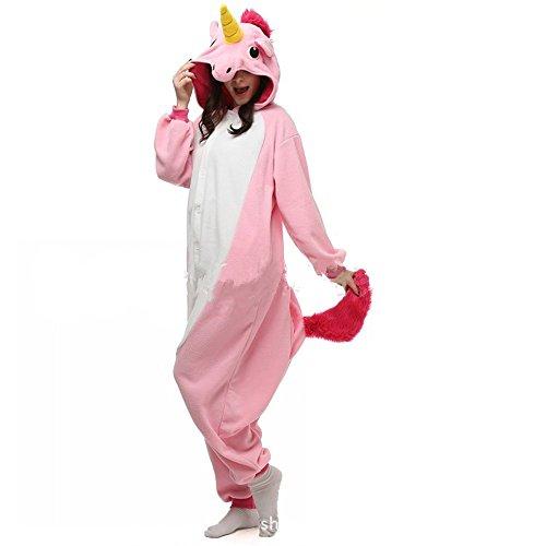 misslight Einhorn Pyjama Damen Jumpsuits Tieroutfit Tierkostüme Schlafanzug Tier Sleepsuit mit Einhorn Kostüme Festival tauglich Erwachsene (XL, Pink)