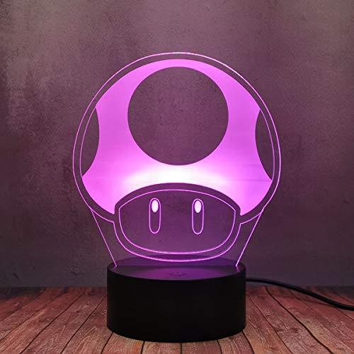 Classic Super Mario Bro Game Magic Mushroom 3D LED Light Flash, Touch Sensor Remote Control Acrylic Desk Night Lamp, USB Cable Plug 16 Color Illusion Lamp Gift Lava Bulb for Boy Girl Bedroom Décor