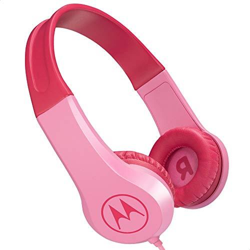 Motorola Lifestyle Squads 200 - Auriculares con Cable para niños (Volumen Limitado 85dB, protección auditiva y función de Compartir música, cojín antialérgico) Color Rosa