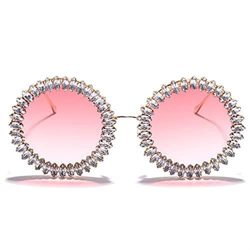 JIANCHEN Gafas de Sol Rhinestone Redondo Gafas de Sol Gafas para Mujer Gafas de Mujer Rhinestone Grande Gafas de Sol Retro Sombras de Hombres (Color : 4)