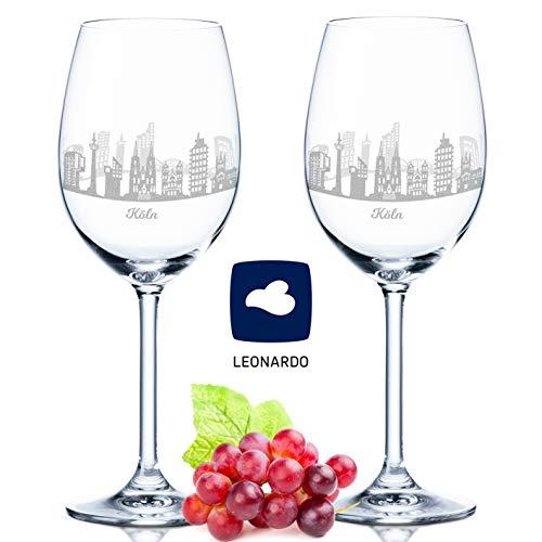 Leonardo Weinglas mit Gravur - Köln Geschenk im 2er Set - Weingeschenk - Souvenir Andenken & Mitbringsel - Geburtstagsgeschenk für Sie & Ihn