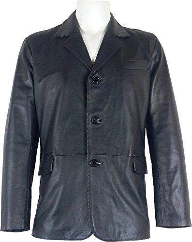 UNICORN Hombres Genuino real cuero chaqueta Estilo clásico Blazer traje Negro #B5