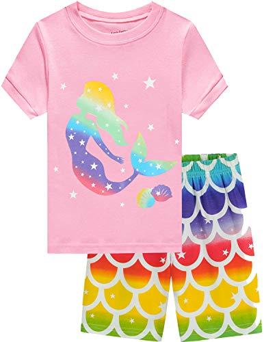 EULLA Pijama corto para niña, diseño de dinosaurio, princesa, unicornio, pijama de verano de dos piezas, 92, 98, 104, 110, 116, 122 3# Rosa Sirenita 92 cm