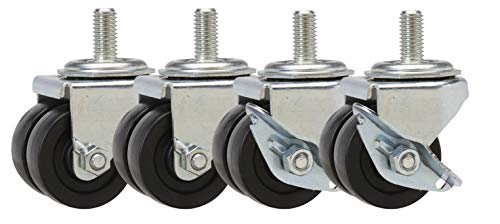 2' Caster Set of 4 | Low Profile Casters for Commercial Refrigerators | 2 Swivels and 2 Swivels with Brake