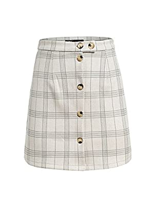 BerryGo Women's Casual High Waist Button A-Line Pencil Mini Skirt