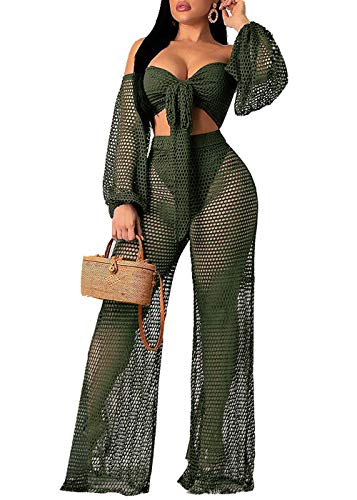 Women Sexy Mesh See Through Crochet Off Shoulder Crop Tops and Legging Pants 2 Piece Bikini Swimsuit Cover-ups Beach Outfits (Green, XXL)