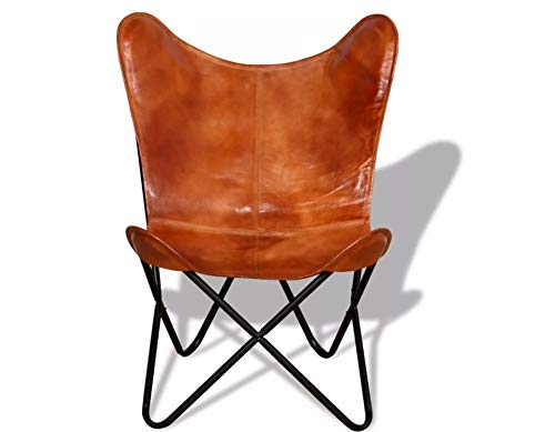 Hanper Schmetterlingsstuhl aus Leder, Rückenlehne + gebogene Sitzfläche, Schmetterlingsstuhl, braun, 74 x 66 x 90 cm