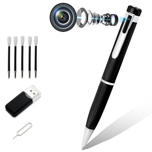Cámara Espía Bolígrafo, Cámara Espía Oculta 1080P HD con Lector Micro SD y 5 tintas Inc, Mini Cámara de Vigilancia Voz e Imagen DVR Multifunción Ejecutiva para Empresas y Aulas(No Incluye Tarjeta SD)