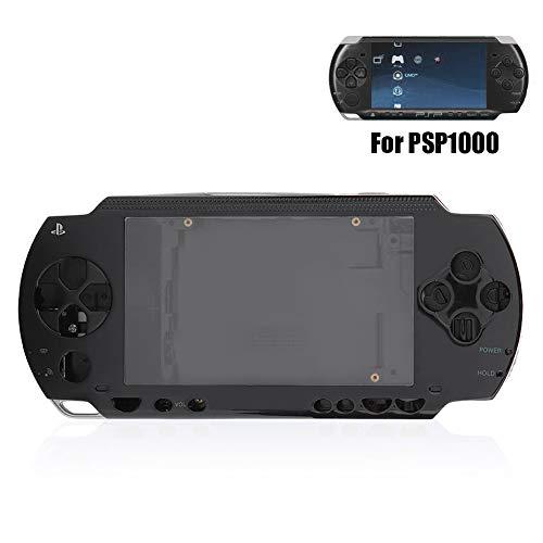 Mavis Laven Full Housing Case Cover für PSP, Ersatz-Anti-Drop-Shell-Set mit Tasten-Kit für PSP 1000-Ersatz-Shell (Schwarz)