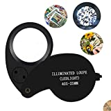 Beileshi 40X Magnification Loupe Jewelry Magnifier Folding Glass Lens + Full Metal Magnifying Loop LED...
