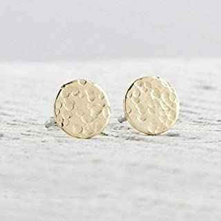 Small Hammered Disc Gold Filled Stud Earrings Jewelry Gift for Women Galaxy Texture