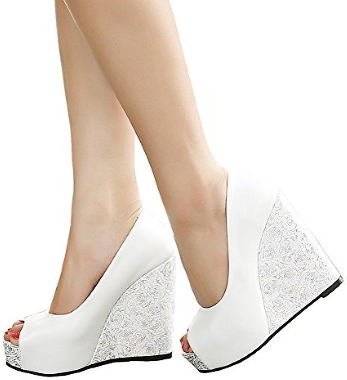 Getmorebeauty Women's Wedding shoes Flowers pink Party Open Toes High Heel