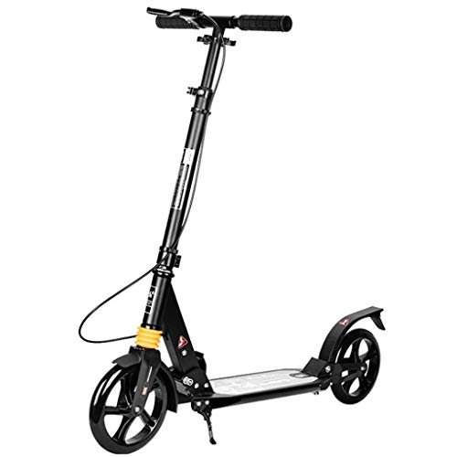 GTYMFH Scooter de pie Plegable de la Rueda Grande Kick Scooter for Adultos/Adolescentes/Niños con Amortiguadores y Freno de Mano Suave y rápido Ride portátil Scooter de Ciudad (Color : Black)