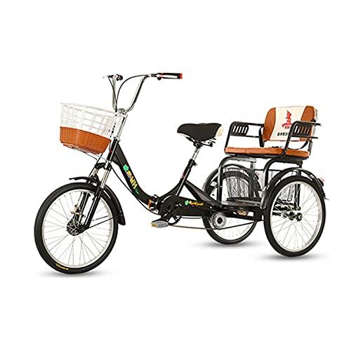 zyy 3 Ruedas Triciclo Triciclo para Adultos con Cesta de 20 Pulgadas Triciclo 110kg Bicicleta de Una Sola Velocidad Bicicleta de Triciclo con Marco de Aleación Negro