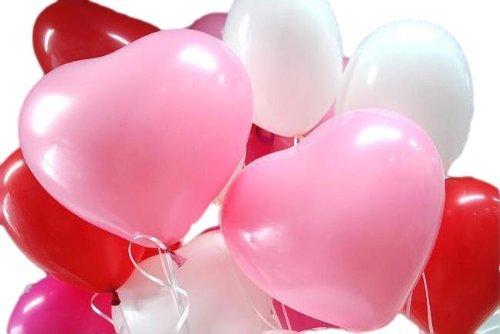 『風船 ハート型 バルーン 3色アソート (赤、白、ピンク) 50個入り 2WAYハンドポンプ付き』のトップ画像