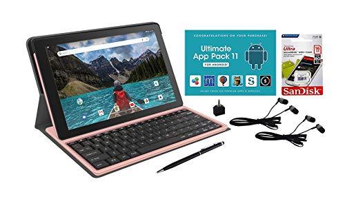 RCA 10' HD Quad-Core 16GB Tablet Folio Keyboard Plus 16GB SD Card (Rose Gold)
